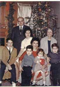Holton family circa early 1960s. From left: Tim (b. 1949); Edward (1919-2006); Kathleen (b. 1947); Sean (b. 1959); Lucille (1921-2007); Ellen (b. 1961); Katherine Smith (Mom's mom, 1898-1983); Brian (b. 1958)