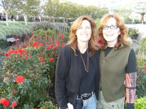 Stacy (left) and Ellen at the Getty Museum in Los Angeles