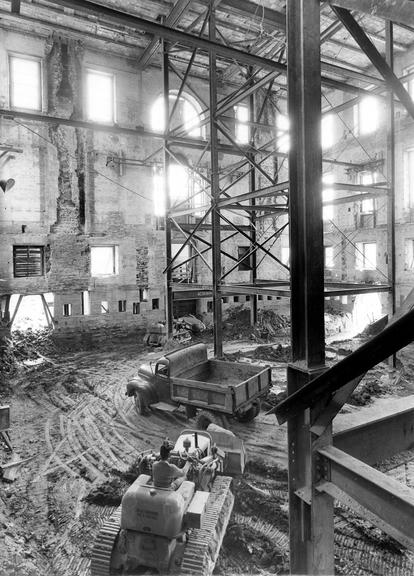 The gutted inside of the White House, from basement to third floor