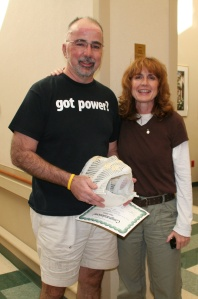 With Ellen, my radiation mask and my certificate of completion